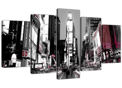 New York Times Square Red Black White Cityscape XL Canvas - 5 Set - 160cm - 5213