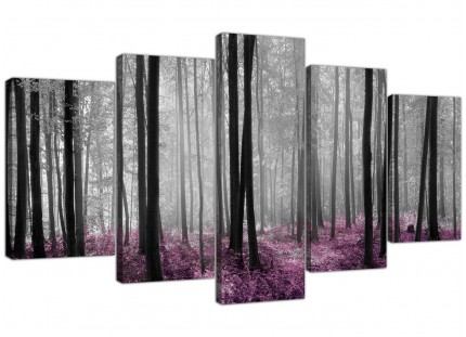 Black Grey Plum Purple Forest Trees Landscape XL Canvas - 5 Part - 160cm - 5240