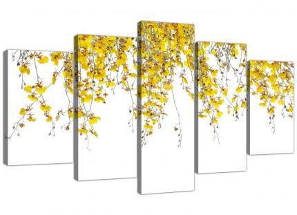 Modern Yellow White Orchids Flowers Floral XL Canvas - 5 Part - 160cm - 5263