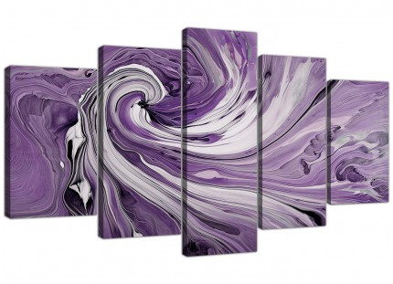 Purple Grey White Swirls Modern Abstract XL Canvas - 5 Set - 160cm - 5270