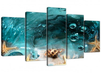 Teal Bathroom Sea Shells Starfish Beach XL Canvas - 5 Panel - 160cm - 5253