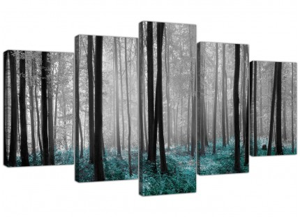 Teal Grey White Forest Woodland Trees Landscape XL Canvas - 5 Set - 160cm - 5242