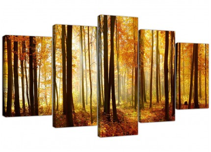 Orange Autumn Forest Scene Woodland Trees XL Canvas - 5 Piece - 160cm - 5243