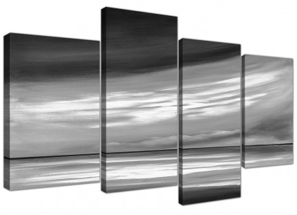 Black White Grey Abstract Beach Scene Abstract Canvas - 4 Panel - 130cm - 4272