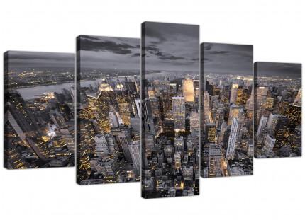 Black White Yellow New York Skyline Cityscape XL Canvas - 5 Panel - 160cm - 5269