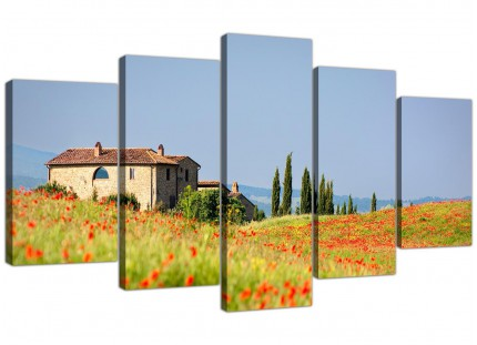 Extra Large Green and Blue Tuscan Meadow with Red Poppies Canvas Print