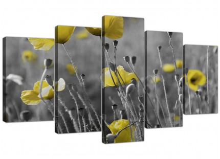 Yellow Grey Poppy Flower - Poppies Floral XL Canvas - 5 Piece - 160cm - 5258