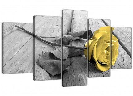 Yellow Grey Rose Flower Black White Floral XL Canvas - 5 Piece - 160cm - 5255