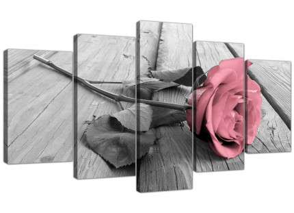 Extra Large Pink Grey Rose Flower Pastel Floral Canvas - 5 Part - 160cm - 5271