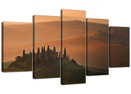 Extra Large Tuscany Vineyard - Italy Canvas Prints 5 Piece in Brown