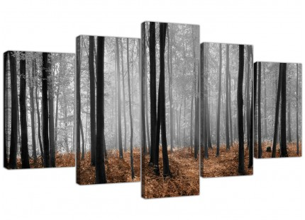 Black White Brown Grey Forest Woodland Trees XL Canvas - 5 Set - 160cm - 5238