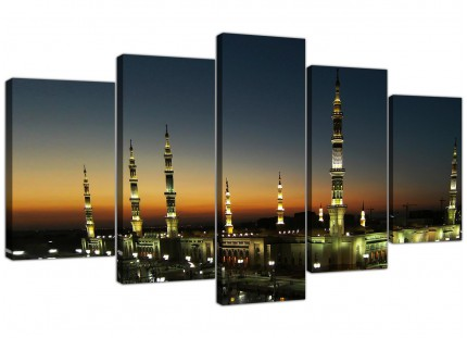 Extra Large Al Masjid an Nabawi - Prophets Mosque Canvas - 5 Part - 160cm - 5230