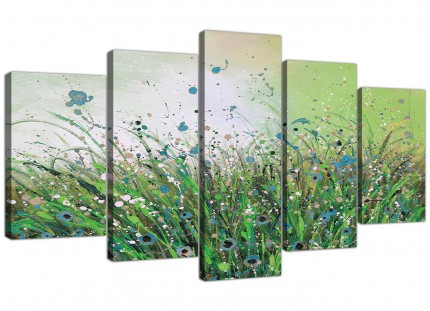 Green White Flowers Abstract Modern Floral XL Canvas - 5 Panel - 160cm - 5261