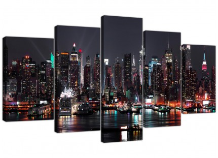 New York City Skyline - Black White Cityscape XL Canvas - 5 Piece - 160cm - 5187