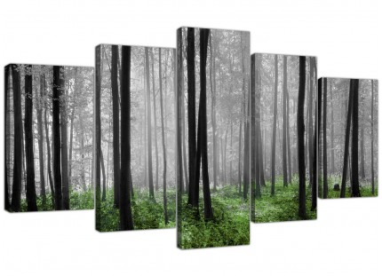 Black White Green Grey Forest Woodland Trees XL Canvas - Set of 5 - 160cm - 5239