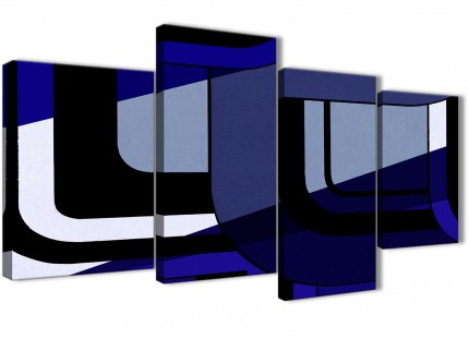 Large Indigo Navy Blue Painting Abstract Bedroom Canvas Wall Art Decor - 4411 - 130cm Set of Prints