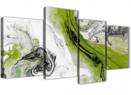 Large Lime Green and Grey Swirl Abstract Living Room Canvas Pictures Decor - 4464 - 130cm Set of Prints