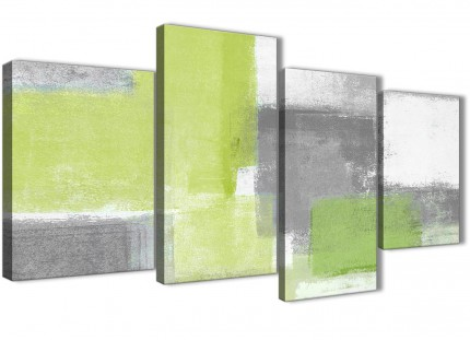 Large Lime Green Grey Abstract Living Room Canvas Wall Art Decor - 4369 - 130cm Set of Prints