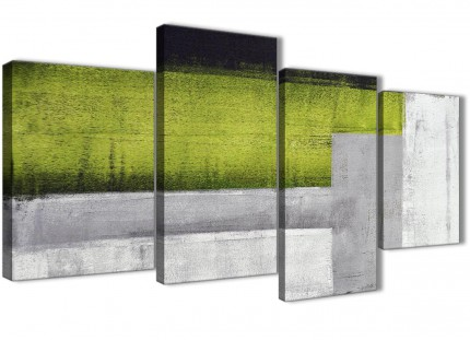 Large Lime Green Grey Painting Abstract Living Room Canvas Pictures Decor - 4424 - 130cm Set of Prints