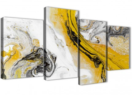 Large Mustard Yellow and Grey Swirl Abstract Bedroom Canvas Wall Art Decor - 4462 - 130cm Set of Prints