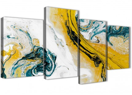 Large Mustard Yellow and Teal Swirl Abstract Bedroom Canvas Pictures Decor - 4470 - 130cm Set of Prints