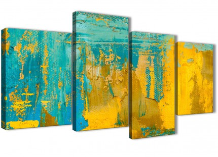 Large Mustard Yellow and Teal Turquoise - Abstract Bedroom Canvas Pictures Decor - 4446 - 130cm Set of Prints