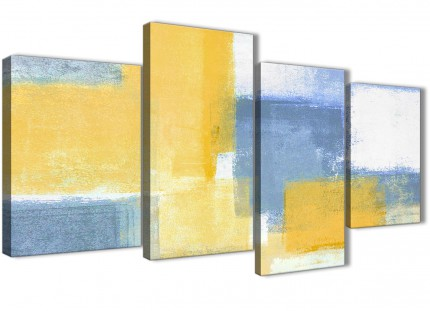 Large Mustard Yellow Blue Abstract Bedroom Canvas Wall Art Decor - 4371 - 130cm Set of Prints