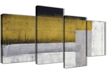 Large Mustard Yellow Grey Painting Abstract Living Room Canvas Wall Art Decor - 4425 - 130cm Set of Prints