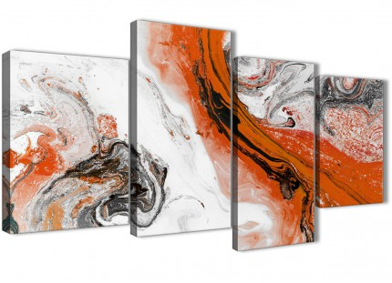 Large Orange and Grey Swirl Abstract Bedroom Canvas Pictures Decor - 4461 - 130cm Set of Prints