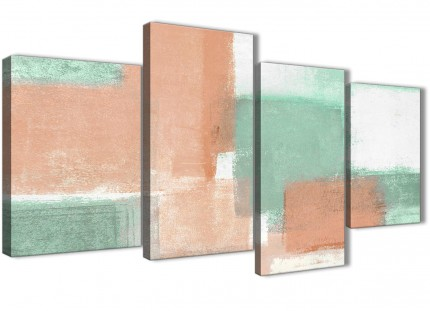 Large Peach Mint Green Abstract Bedroom Canvas Pictures Decor - 4375 - 130cm Set of Prints
