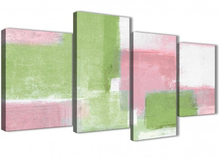Large Pink Lime Green Abstract Bedroom Canvas Wall Art Decor - 4374 - 130cm Set of Prints