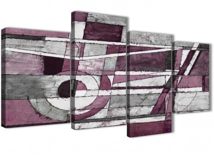 Large Plum Grey White Painting Abstract Bedroom Canvas Pictures Decor - 4408 - 130cm Set of Prints