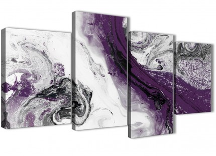 Large Purple and Grey Swirl Abstract Bedroom Canvas Pictures Decor - 4466 - 130cm Set of Prints