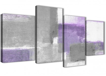Large Purple Grey Painting Abstract Bedroom Canvas Wall Art Decor - 4376 - 130cm Set of Prints