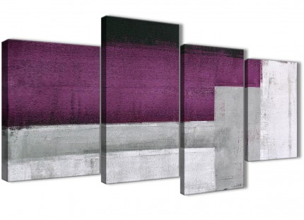 Large Purple Grey Painting Abstract Living Room Canvas Wall Art Decor - 4427 - 130cm Set of Prints