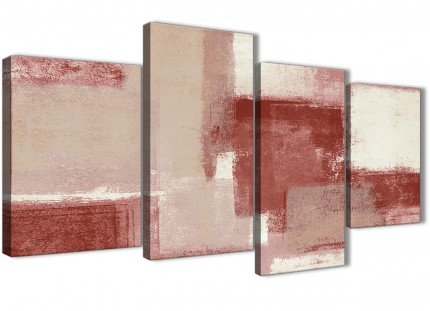 Large Red and Cream Abstract Bedroom Canvas Pictures Decor - 4370 - 130cm Set of Prints
