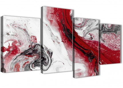 Large Red and Grey Swirl Abstract Living Room Canvas Wall Art Decor - 4467 - 130cm Set of Prints