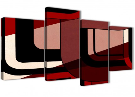 Large Red Black Painting Abstract Living Room Canvas Pictures Decor - 4410 - 130cm Set of Prints