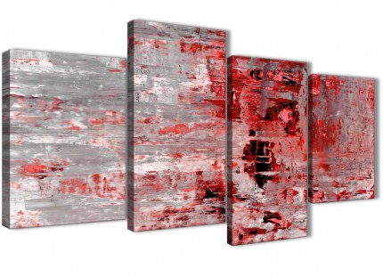 Large Red Grey Painting Abstract Bedroom Canvas Pictures Decor - 4414 - 130cm Set of Prints