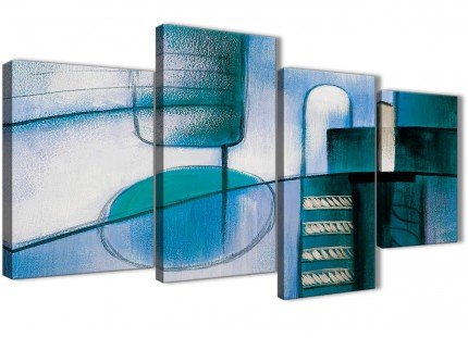 Large Teal Cream Painting Abstract Living Room Canvas Pictures Decor - 4417 - 130cm Set of Prints