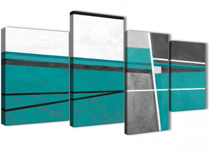 Large Teal Grey Painting Abstract Bedroom Canvas Wall Art Decor - 4389 - 130cm Set of Prints