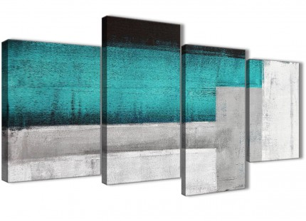 Large Teal Turquoise Grey Painting Abstract Bedroom Canvas Pictures Decor - 4429 - 130cm Set of Prints