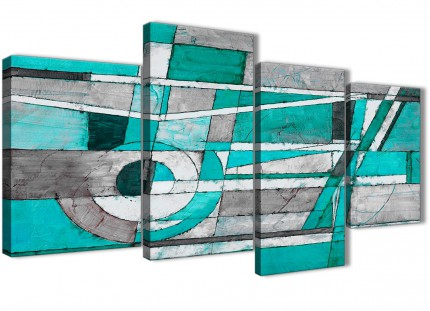 Large Turquoise Grey Painting Abstract Bedroom Canvas Wall Art Decor - 4403 - 130cm Set of Prints
