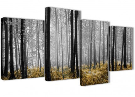 Large Yellow and Grey Forest Woodland Trees Bedroom Canvas Wall Art Decor - 4384 - 130cm Set of Prints