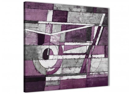 Aubergine Grey White Painting Living Room Canvas Pictures Decorations - Abstract 1s406m - 64cm Square Print