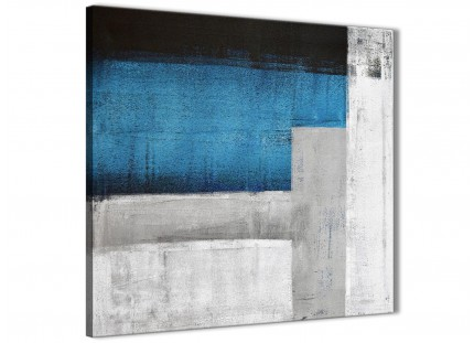 Blue Grey Painting Hallway Canvas Pictures Decorations - Abstract 1s423m - 64cm Square Print