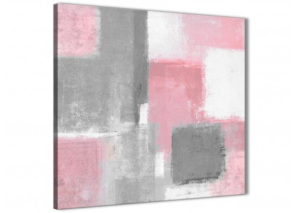 Blush Pink Grey Painting Living Room Canvas Pictures Decor - Abstract 1s378m - 64cm Square Print