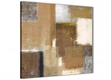 Brown Cream Beige Painting Living Room Canvas Wall Art Decorations - Abstract 1s387m - 64cm Square Print