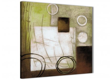 Brown Green Painting Hallway Canvas Pictures Decor - Abstract 1s421m - 64cm Square Print