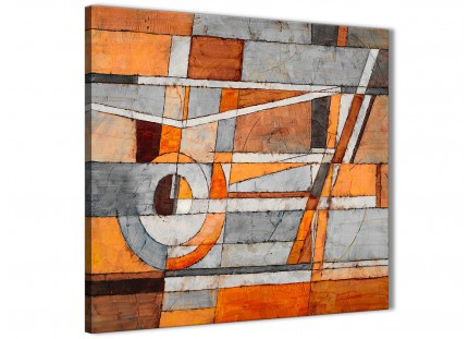 Burnt Orange Grey Painting Hallway Canvas Pictures Decor - Abstract 1s405m - 64cm Square Print